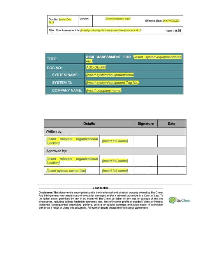 Risk Assessment template Preview