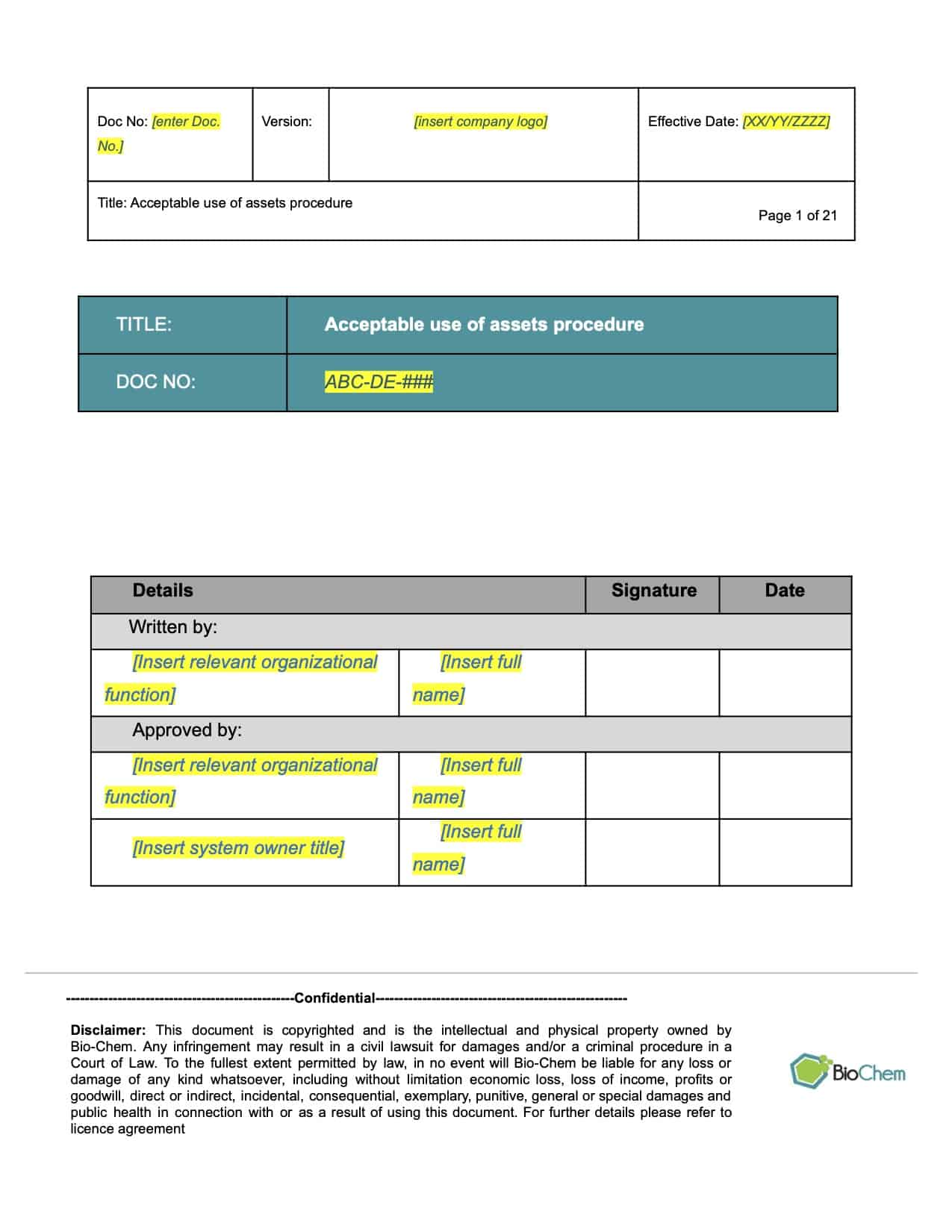 Acceptable use of assets_BioChem_ISMS template preview 1