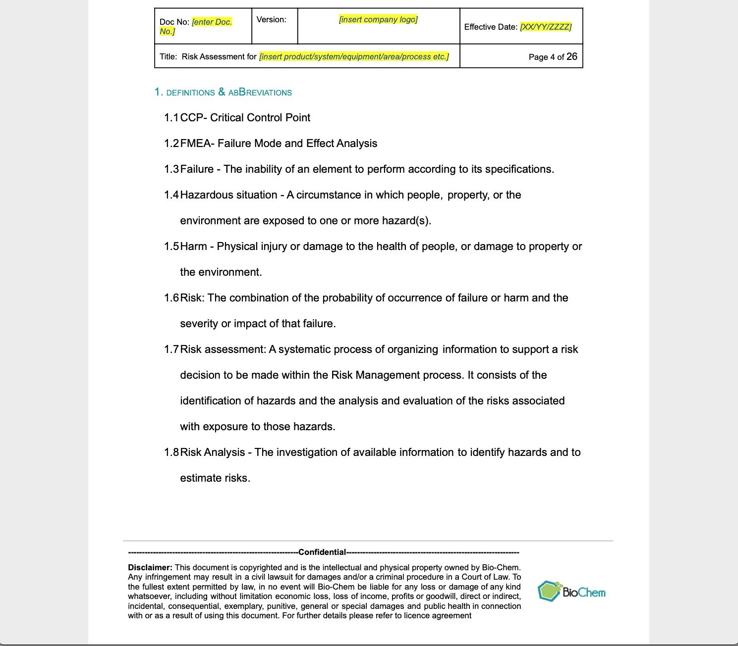 Risk Analysis and Risk Assessment document template FMEA Content Preview 3