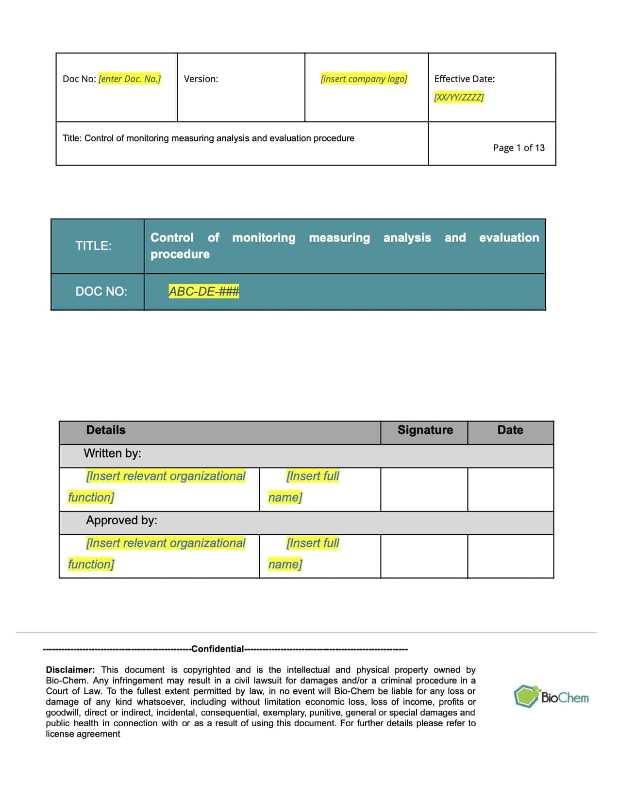 Control of Monitoring Measuring Analysis and Evaluation_BioChem_ISMS_Template preview 1