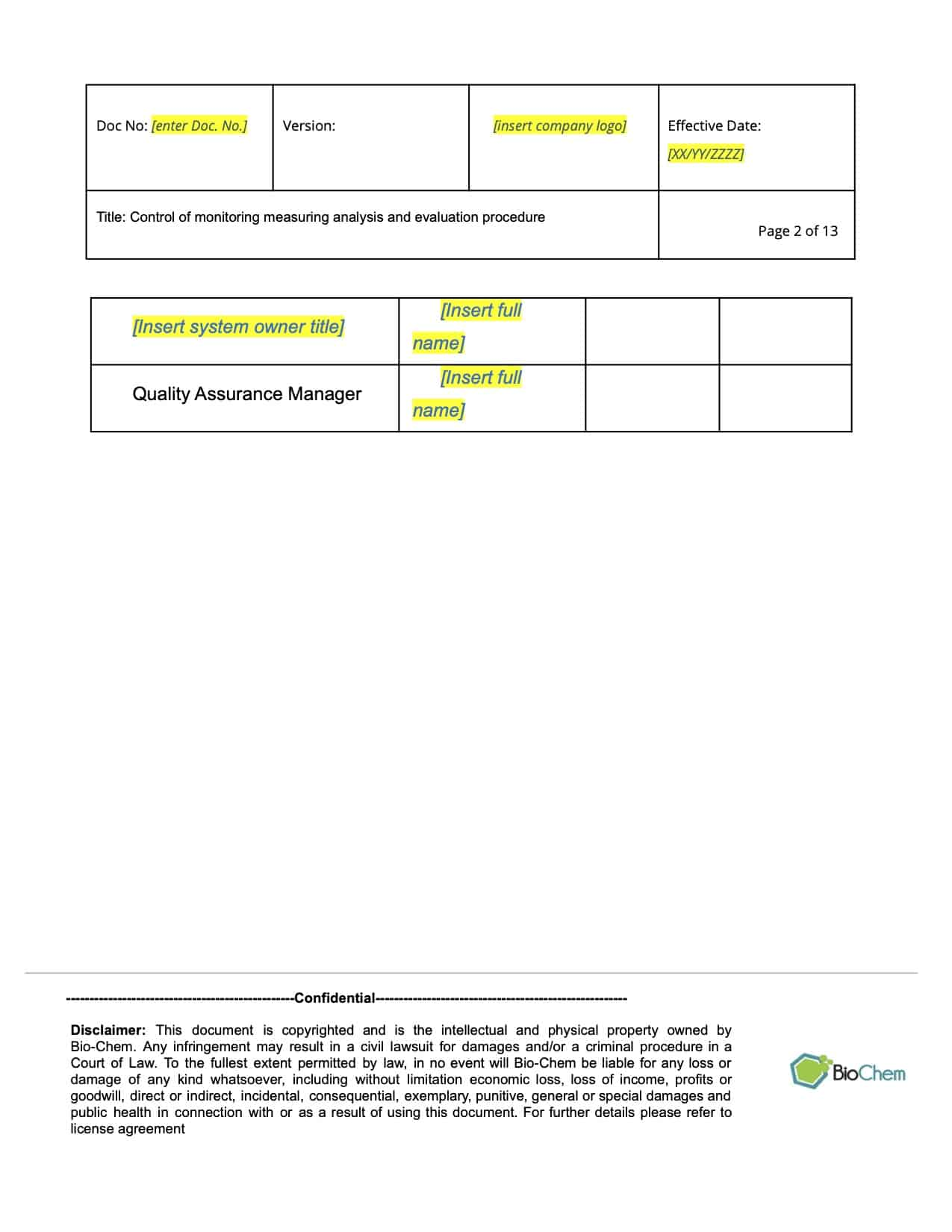 Control of Monitoring Measuring Analysis and Evaluation_BioChem_ISMS_Template preview 2