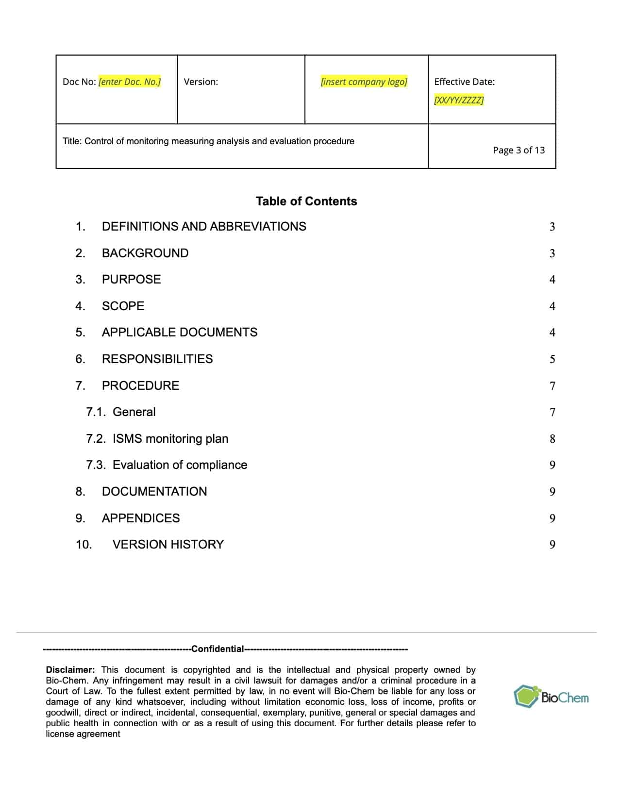 Control of Monitoring Measuring Analysis and Evaluation_BioChem_ISMS_Template preview 3