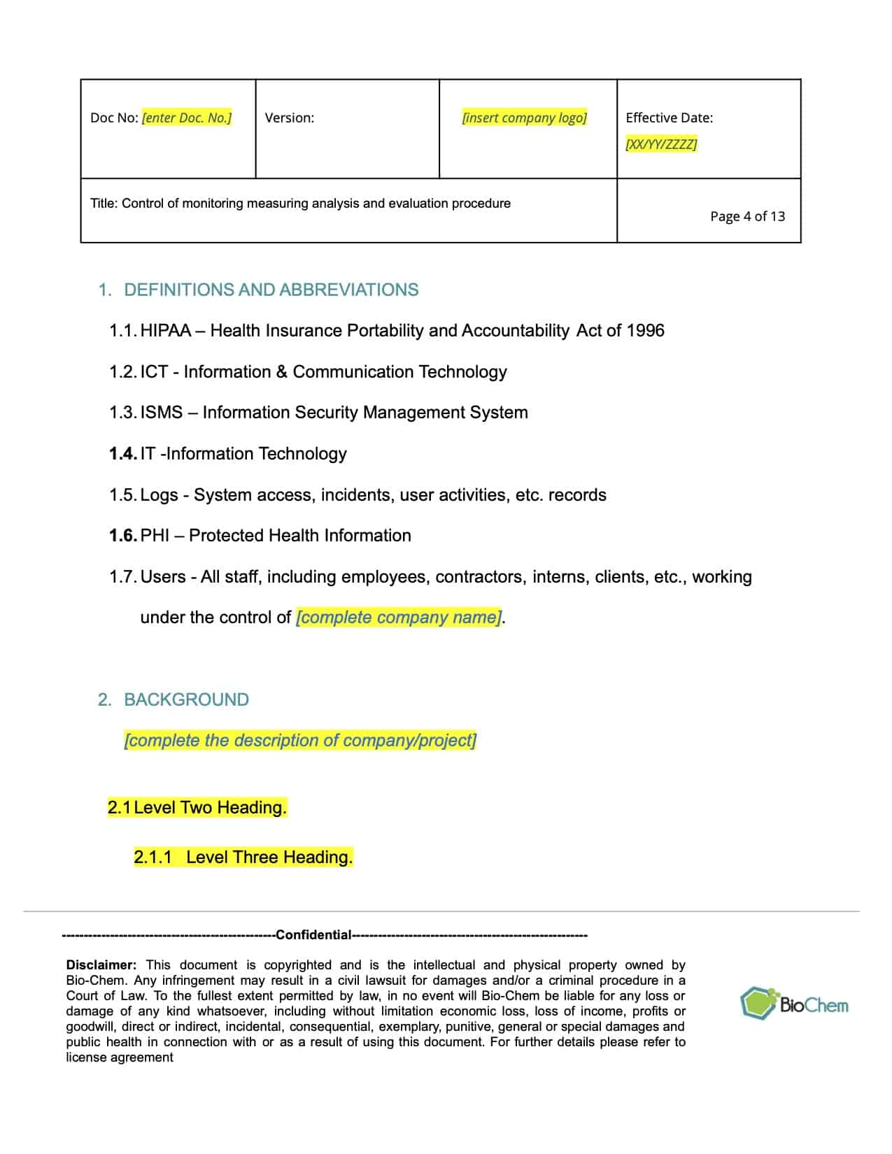 Control of Monitoring Measuring Analysis and Evaluation_BioChem_ISMS_Template preview 4