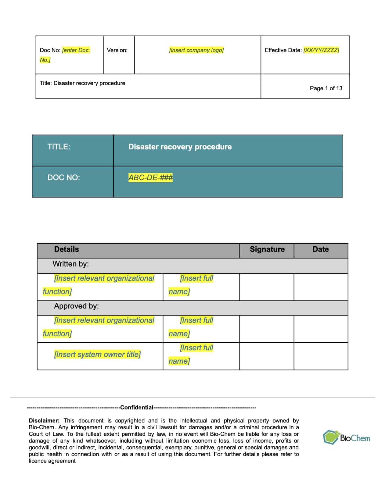Disaster recovery_BioChem_ISMS_Template preview 1