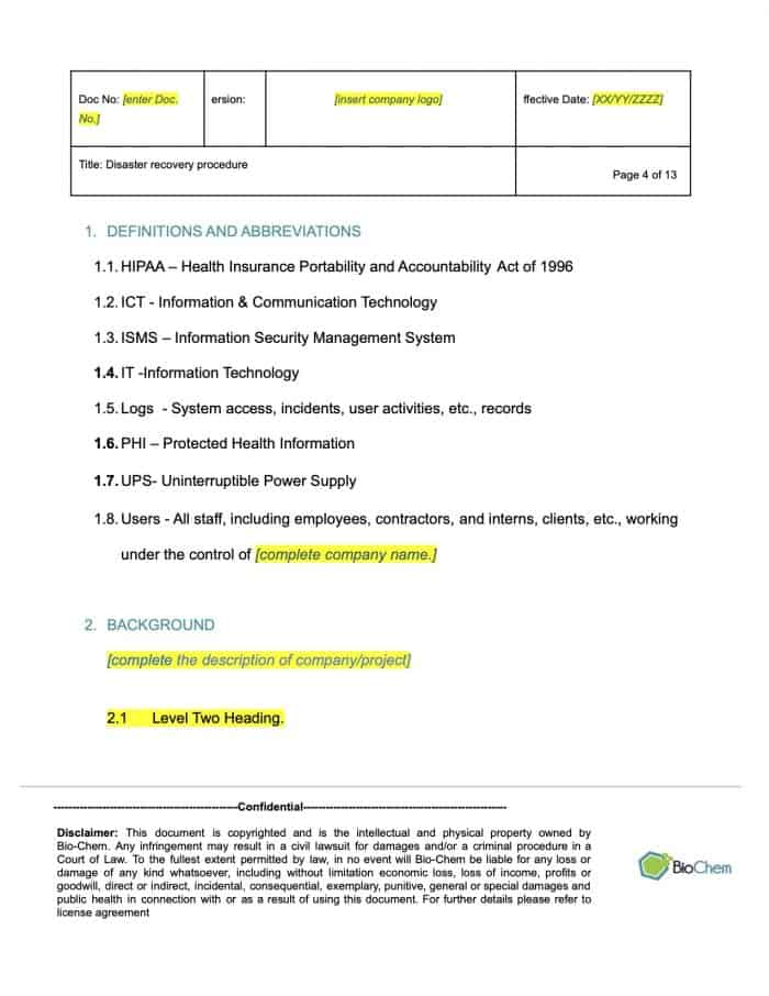 Disaster recovery_BioChem_ISMS_Template preview 4