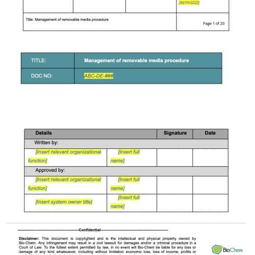 Management of Removable Media_BioChem_ISMS template preview 1