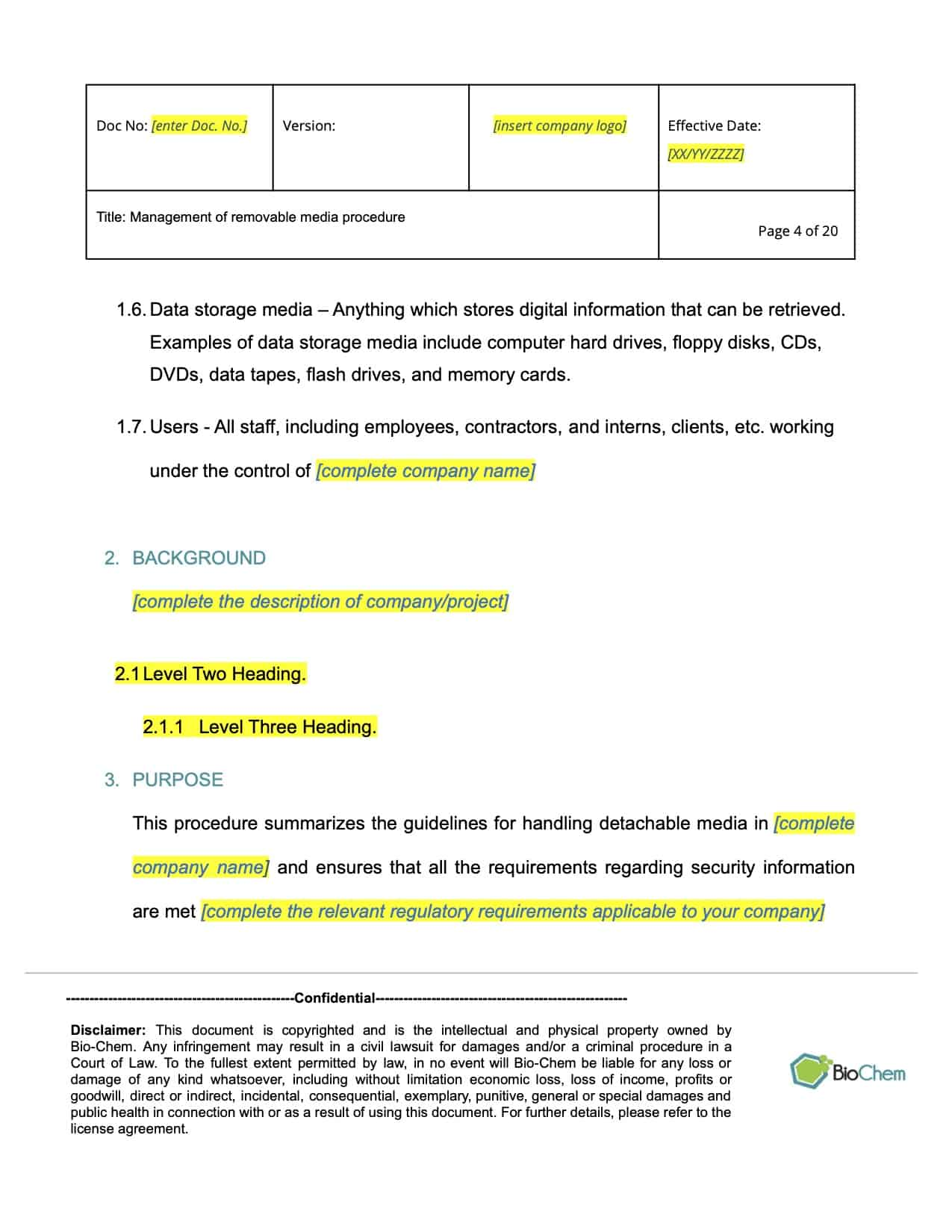 Management of Removable Media_BioChem_ISMS template preview 4