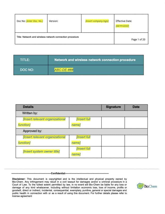 Network and wireless network Connection_BioChem_ISMS Template preview 1